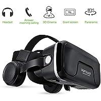 3D VR Gafas de Realidad Virtual con Auriculares, [Regalos] HAMSWAN 3D VR Googles Gafas 3D VR con Auriculares Incorporados, Visión de 360 Grados, FOV Botón, Multifunción Para iPhone, Samsung, Huawei, Xiaomi y otros Móviles de Pantalla 4.0-6.0 Pulgadas