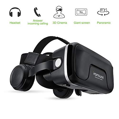 """3D VR Brille, HAMSWAN G04EA 3D VR Briller Virtual Reality Gläser mit eingebautem Headset 120 Grad FOV und Multifunktionsknopf Kompatibel mit iPhone, Samsung und Anderen 4.0\""""-6.0\"""" Smartphones"""