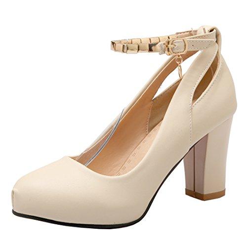 AIYOUMEI Damen Riemchen Pumps Blockabsatz High Heel Schuhe mit mit mit Knöchelriemchen Beige 7bf5f4