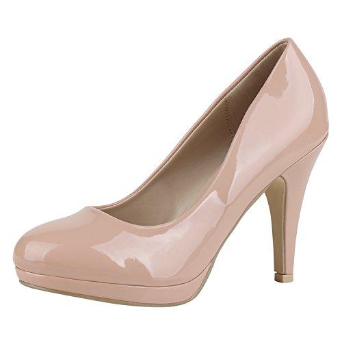 Damen Pumps Plateau Pumps High Heels Lack Stiletto Elegante Schuhe Nude Hell 40 Jennika