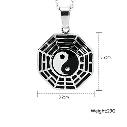 anazoz Fashion Jewelry Collier Pendentif en acier inoxydable-Collier Yin Yang hexagramme Pendentif pour sac Choisir Couleur Silver(Big)