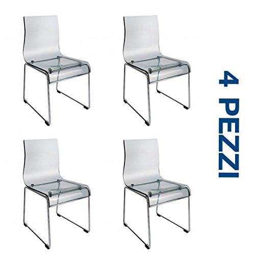 Set 4 (QUATTRO) Sedie Design in acrilico trasparente e metallo cromato - Arredo design prezzi OUTLET ONLINE