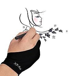 XP-Pen Artist Anti-Fouling Lycra Glove for Digital Drawing Tablet Interactive Pen Display Copy Board Tracing Light Pad Free sizeBlack