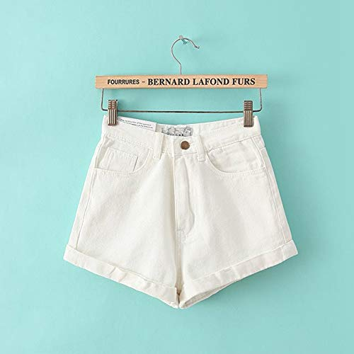 Frauen Shorts,Weiß Euro Style Frauen Denim Shorts Vintage Hohe Taille Cuffed Jeans Shorts Street Wear Sexy Sommer Frühling Herbst Shorts, 29. - Cuffed Jean Shorts
