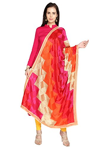 Dupatta Bazaar Women\'s Multicolouredi Phulkari Embroidery Chiffon Dupatta