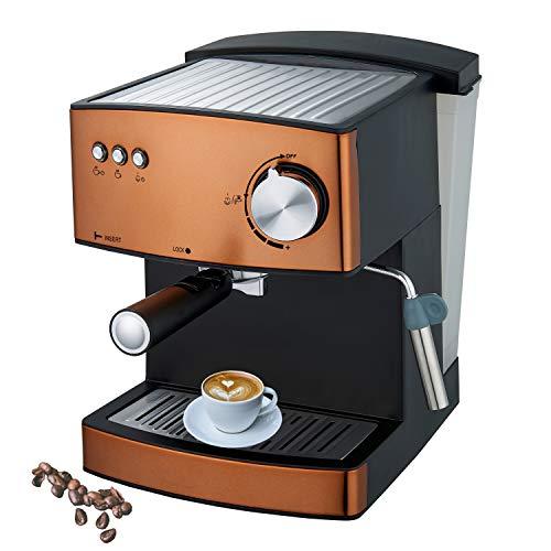 Espressomaschine | Kaffeemaschine | Milchaufschäumer | Cappuccinomaschine | Siebträger Espressomaschine | Elektrische Espressomaschine | Bronze Design | 1,6L Wassertank | 850 Watt |15 bar |