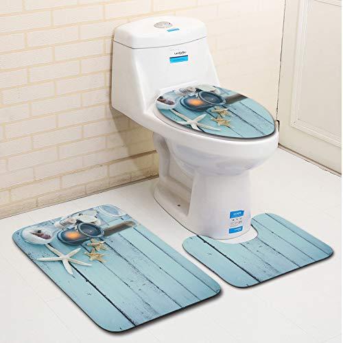 Tapis de bain antidérapant Starfish Kerosene Lamp Set de tapis de bain Tapis de bain + tapis de toilette + tapis en U, lot de 3 Pour la maison