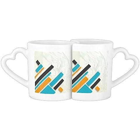 whiangsfoo Blu Arancione Nero design moderno coppie tazza regalo per