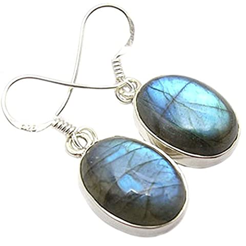 Labradorite earrings in sterling silver - Stone size 12x16mm