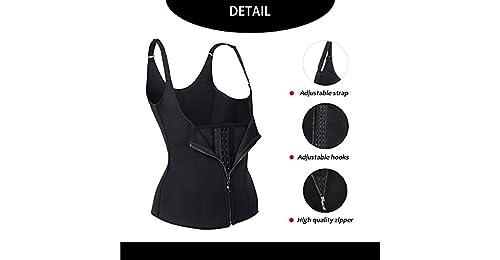 c17d121ac47 DODOING Women Neoprene Sauna Vest Hot Waist Trainer Corset for Weight Loss  Tummy Control Tank Top Corset Fat Burner Belt Trimmer Zip Steel