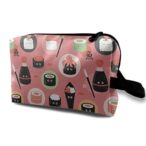 Kawaii Sushi Kosmetiktaschen Aufbewahrungstasche Schminktasche Mit Bürstenbeutel Tragbarer Reißverschluss Brieftasche Handtasche Für Frauen Notwendig