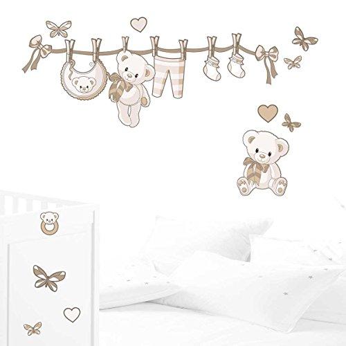 Juju & Compagnie - Kit completo nascita composto da adesivi murali con orsetti, dimensioni: 50 x 90 cm, colore: beige