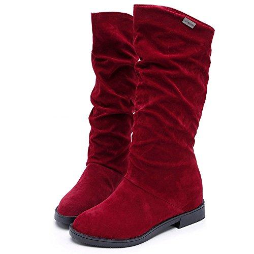 BHYDRY Mode Herbst Winterstiefel Volltonfarbe Mittlere Stiefel Damen Süß Boot Stilvolle Flache Schneestiefel Flache Schuhe(39 EU,Rot)