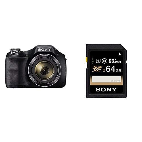 Sony DSC-H300 Fotocamera Digitale, Cyber-shot, Sensore Super HAD CCD da 20.1 MP, Obiettivo Sony con + Sony SF64U Scheda SD XC, UHS-I, Classe 10, 64 GB, Nero