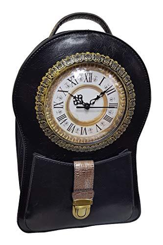 Einkaufszauber Echt Leder Designer Handtasche Uhr Antik Schwarz -