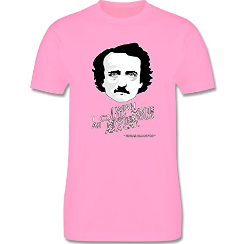 Statement Shirts - Edgar Allan Poe - I wish I could write as mysterious as a cat - Herren Premium T-Shirt Rosa