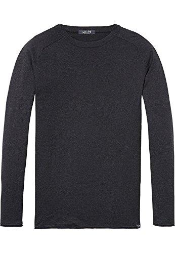Scotch & Soda Herren Cotton-Cashmere Pullover, Grau (Antra Melange 0608), Medium (Cashmere-blend Sweater)