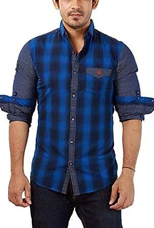 Rapphael Men's Plain Slim Fit Casual Shirt (RPL-00542-XXL_Blue)