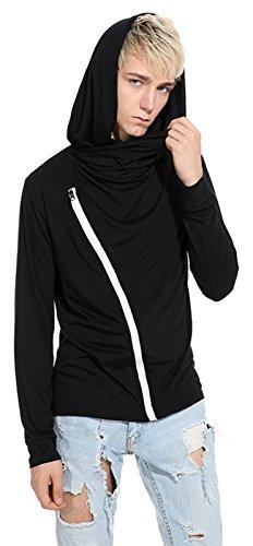 Whatlees Herren Urban Basic reguläre Passform lang arm Langes T-shirt mit Kapuzer aus weiches Jersey B765-Black