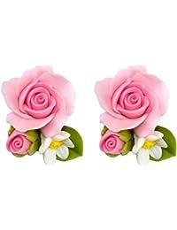 Stud Pendientes Rosa Cabeza (rosa) hecho con Fimo por Joe Cool