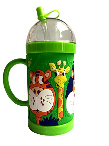 Premium Quality 3 D Animal Print Baby Straw Cup Sipper 300 ml BPA Free Double Deck Automatic Straw round handle grip,unique