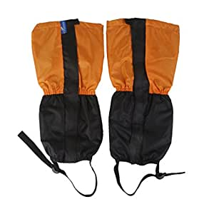 Generic 1 Pair Adult's Fleece Thermal Waterproof Snow Gaiters Cover -Orange Black