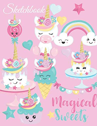 Sketchbook: A Cute Magical Pink Kawaii Japanese Sweets Theme Large 8.5