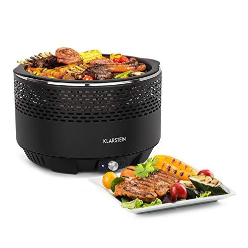 Klarstein micro-q 3131 grill a carbonella • griglia portatile • barbecue da campeggio • rotondo • griglia da 31 cm (Ø) • ventola a batteria • borsa per trasporto • colore nero