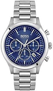 ساعة مع بندول من هوغو بوس وكرونوغراف للرجال، بلون فضي - 1513801