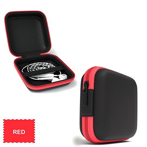Foto de Lucklystar® Funda para Auriculares Mini Bolsa Almacenamiento para Auriculares Accesorios para Auriculares para iPod Shuffle, auriculares, tarjetas de memoria, USB Flash Drive y el filtro de la lente (RojoA)