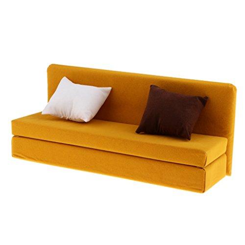 12-zoll-kissen (MagiDeal 1/6 Long Sofa Möbel mit Kissen Für 12 Zoll Aktion Figur - Gelb)
