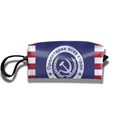 USSR American Flag Print Classic Cosmetic Pouch Bag Trendy Jewelry Pouch Travel Cosmetic Bag Pouch with Zipper - American Zebra Line
