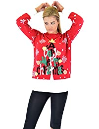 7d14de5903 Women Ladies Flashing Sound 3D Novelty Christmas Printed Rudolph Star Angle  Knitted Jumper Top