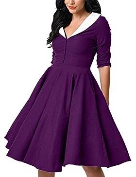 GAOLIM Las Mujeres Puff Falda Profunda V Collar Camisa Vestido De Cintura, M, Púrpura