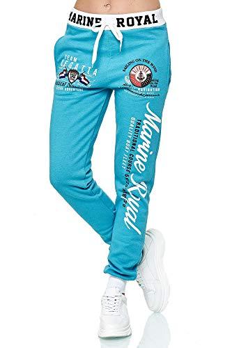 Violento Damen Jogginghose Design Marine Royal (L=Fällt Groß aus, Türkis/Weiß)