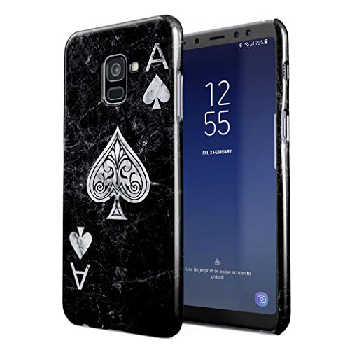 Maceste Ace of Spades Black Marble Kompatibel mit Samsung Galaxy A8 2018 SnapOn Hard Plastic Phone Protective Fall Handyhülle Case Cover