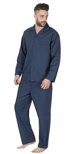 Herren Gestreift/Kariert Gewoben Polycotton Frühling Sommer Pyjama Set Nachtwäsche, Langärmelig Geknöpft Nachthemd & Hose - marineblau Fliesen mit FREIZEIT SOCKE, Small (Pyjama Nachtwäsche Gewebte Hose)