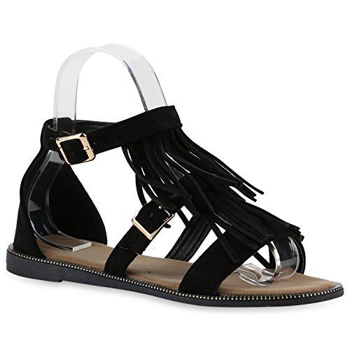 Damen Sandalen Fransen | Glitzer Schuhe Quasten | Metallic Flats Schnallen  | Riemchensandalen Damenschuhe Velours Schwarz