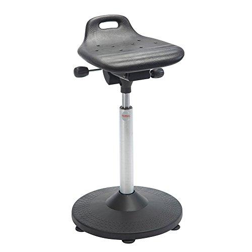 Arbeitshocker Stehhilfe, 57-83 cm Sitzhöhe, mit Griff, Trompetenfuß, schwarz