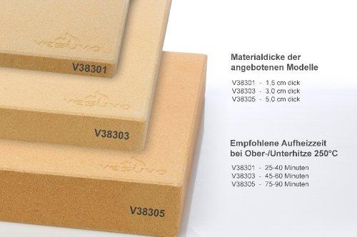 41HGXp6D1EL - Vesuvo V38301 Pizzastein- / Brotbackbackstein Set für Backofen und Grill / eckig / 38x30 cm / mit Pizzaschaufel und Pizzamehl