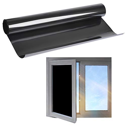 TIMESETL 44.5cm x 2m Pegatina Protectora Solar para Ventanas Negro Opaco Autoadhesiva Protección de la privacidad para Cristal Tinte Anti-UV A Prueba de Ralladuras para Ventana/Puertas/ Baño/Balcón