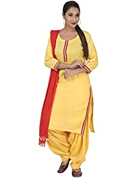 AAfra Fashion Yellow & Red Solid Kurta And Patiala Set