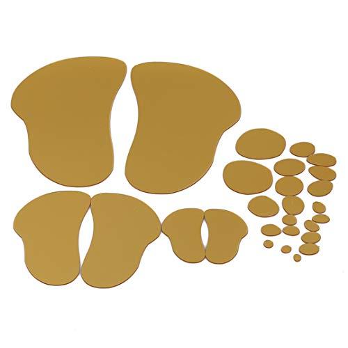 Garispace Fußabdruck Muster Flexible Spiegel Blätter Spiegel Wandaufkleber Selbstklebende Spiegel Fliesen Wandaufkleber Aufkleber Dekoration(Gold) - Blätter Spiegel, Flexible