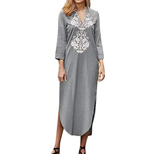 Beonzale Frauen Sommer Mode Damen Beiläufige Lose Kleid Langarm Spitzenkleid V-Ausschnitt Slit Up Langes Kleid Baumwolle Boho Maxi Kleid 19th Century Muster
