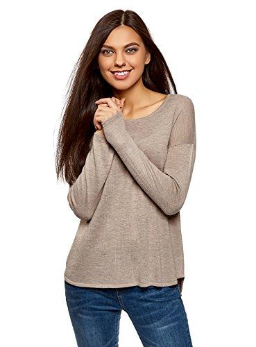 oodji Ultra Damen Lässiger Pullover mit Rundhalsausschnitt, Beige, DE 32 / EU 34 / XXS