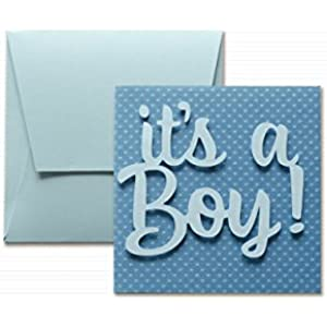 It's a boy punktierte - papier mit tupfen - Grußkarte mit Umschlag (12 x 12 cm) - handgemachte Karte - freier Raum nach innen