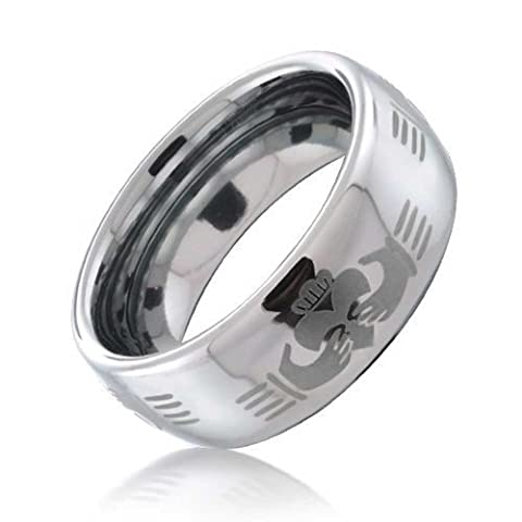 Bling Jewelry celtiques Claddagh main tungstène Conception Anneau 8mm