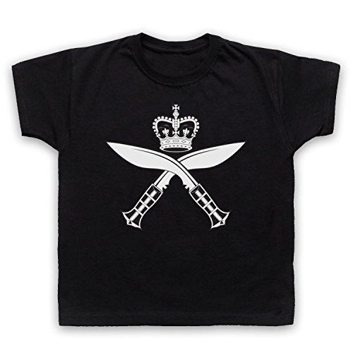 Gurkha Regimental Insignia Badge Logo Kinder T-Shirt, Schwarz, 9-11 Jahren (32-zoll-tv Insignia)
