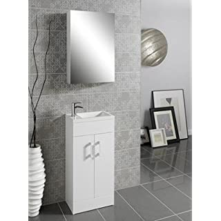 Lomond Bathroom Compact Vanity Unit Floor Standing White 400mm