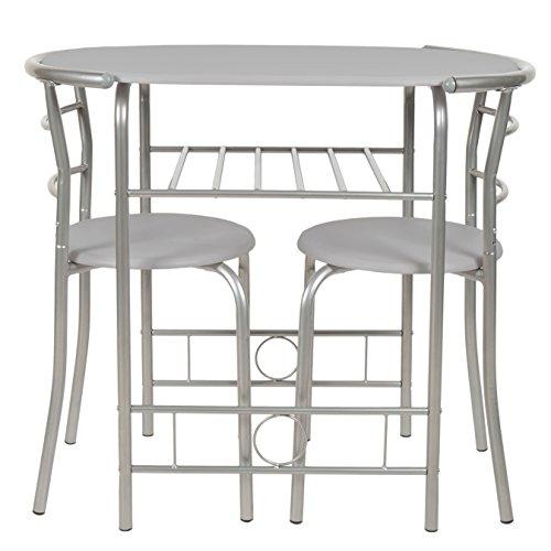 ts-ideen Set di 3 Pezzi Sala da Pranzo Tavolo da Cucina Salvaspazio  Struttura in Alluminio + MDF in Argento e Grigio 75 x 80 cm